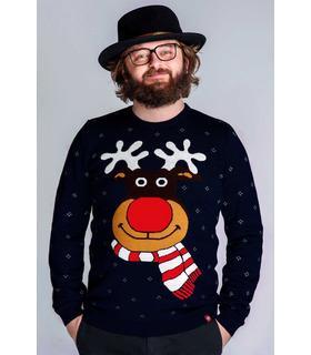 Мужской вязаный свитер Весёлый Олень (мод.55)