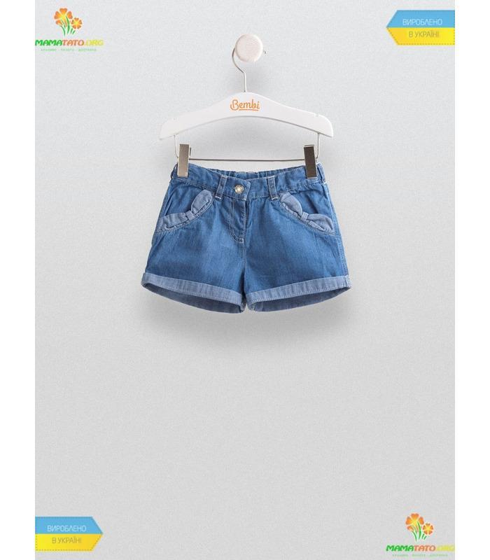 Шорты для девочки ШР462, детские джинсовые шорты с бантиками