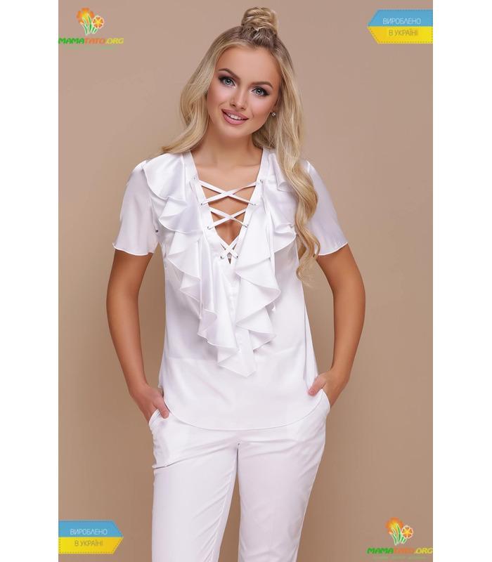 Блуза Сиена WH, белая шелковая блузка
