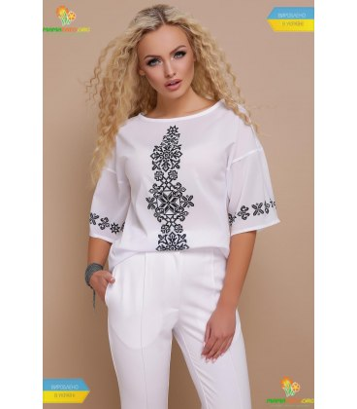 Блуза Мірана Чорний Орнамент,літня блузка