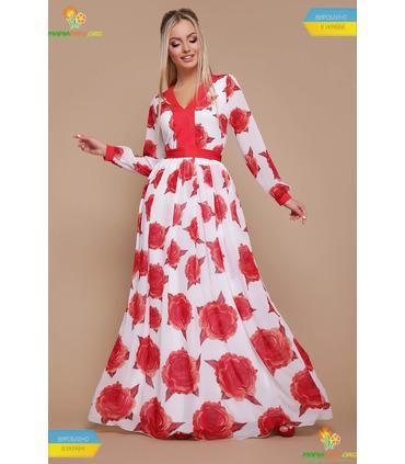 Сукня Кароліна Червона Троянда, шикарна шифонова сукня