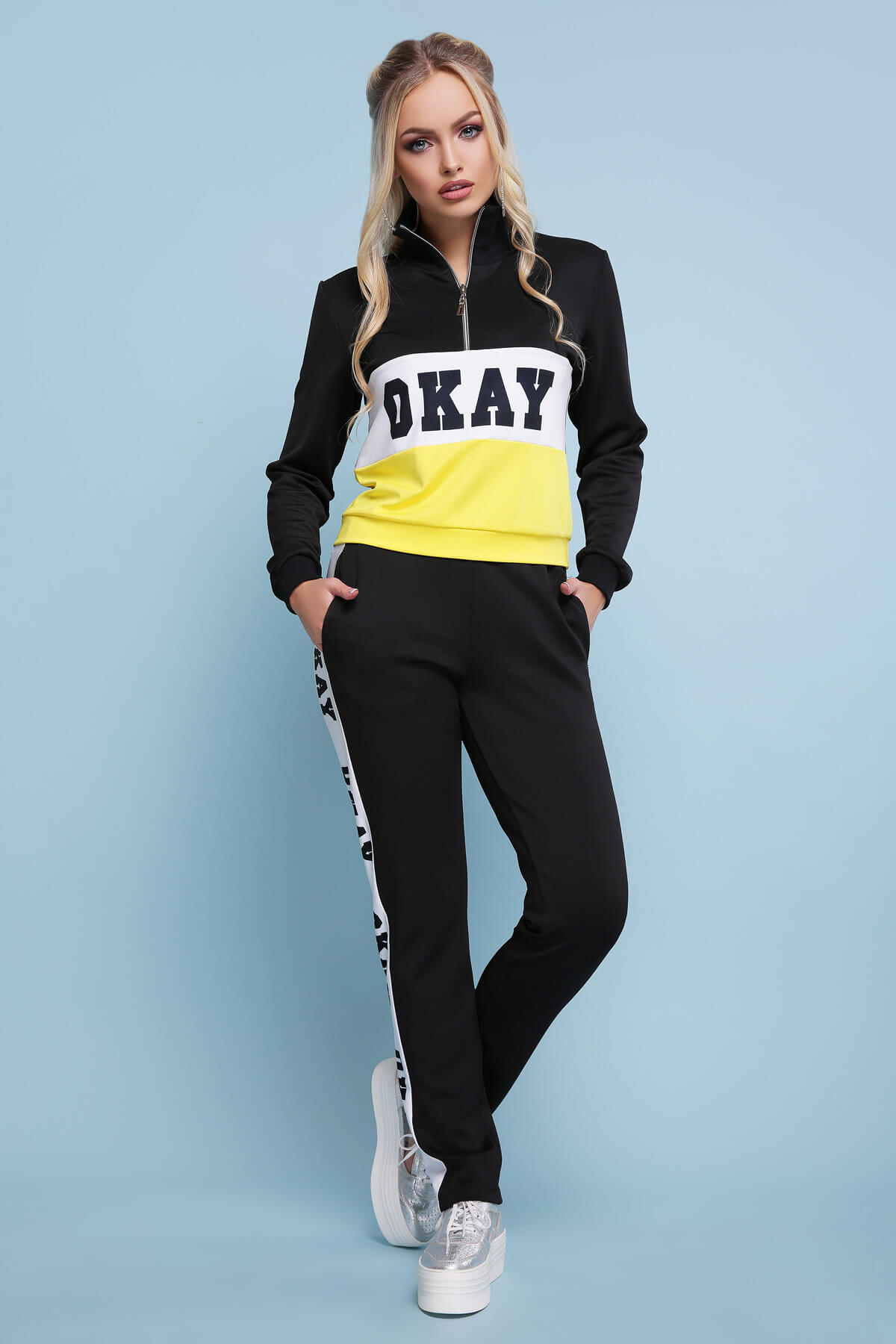 12ca4afb Костюм Драйв YE ᐈ жіночий спортивний костюм з жовтою смугою