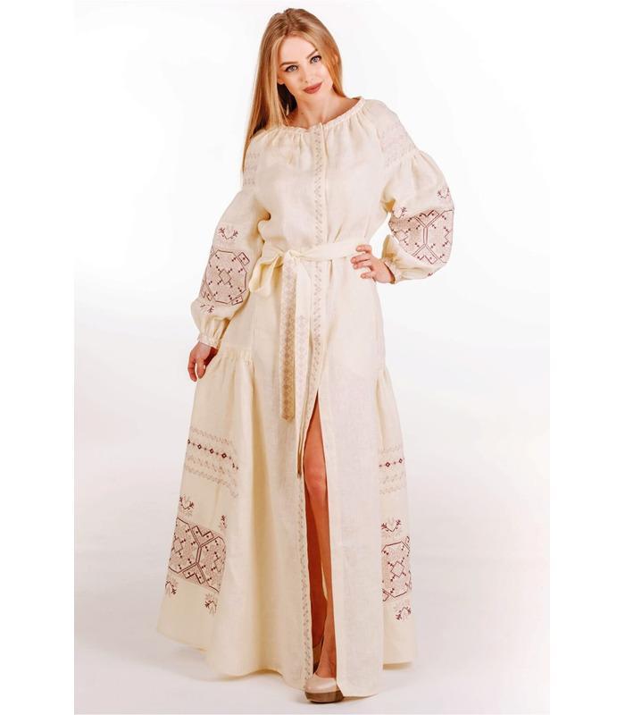 Вишитое льняное платье (мод.0039)