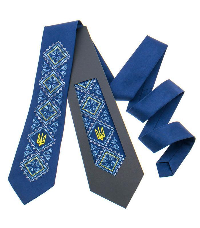 Вишита краватка з тризубом 820