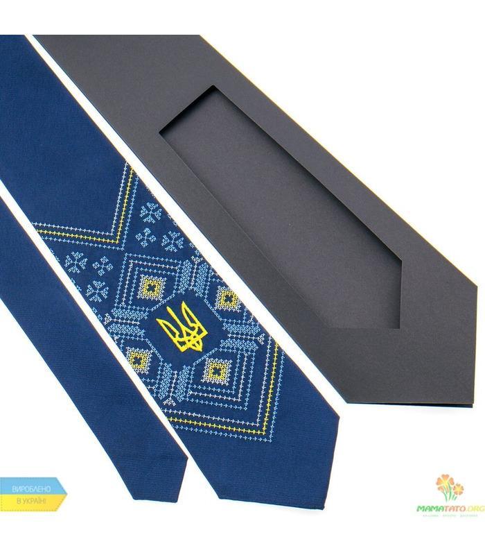 Вишита краватка з тризубом 821