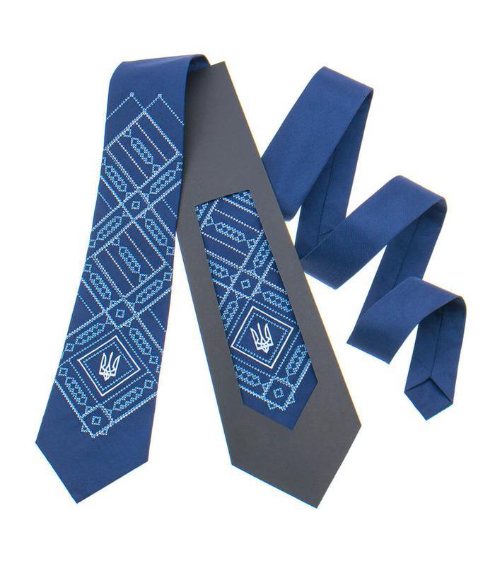 Вишита краватка з тризубом 822
