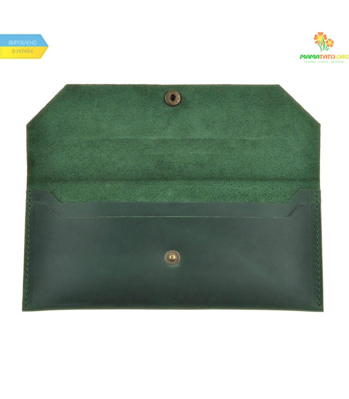 Кожаный клатч-конверт Изумруд ᐉ Натуральная кожа, ручная качественная работа