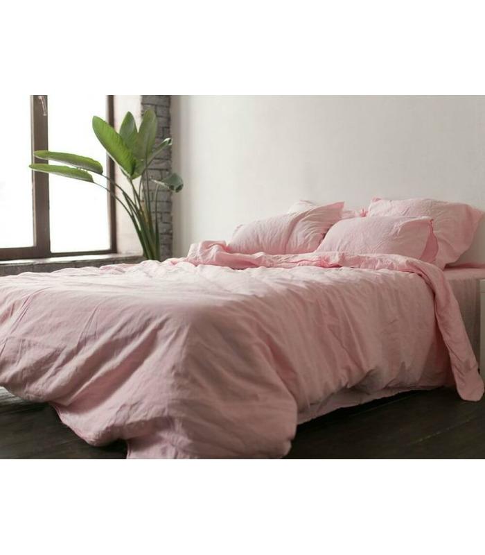Комплект постільної білизни Рожевий №1402 ᗍ льон ※ Україна, натуральна тканина