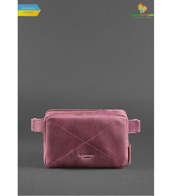 Кожаная сумка на пояс DropBag mini  (Crazy Horse) MR бордовая ᐉ Украины, HandMade, натуральная кожа