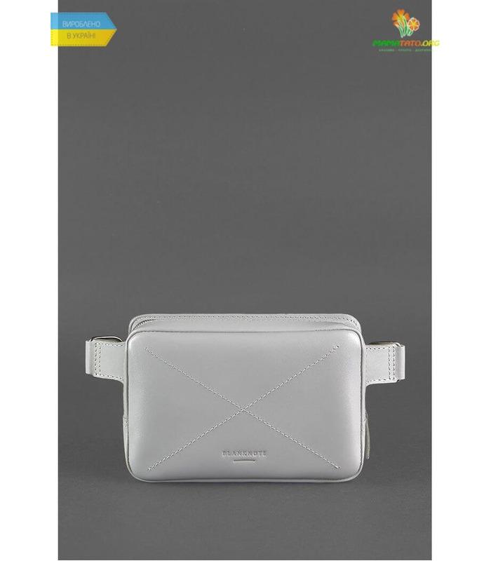 Кожаная сумка на пояс DropBag mini GR Серая ᐉ Украины, HandMade, натуральная кожа