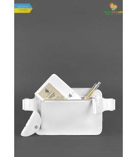 Шкіряна сумка на пояс DropBag mini WR Біла ᐉ Україна, HandMade, натуральна шкіра