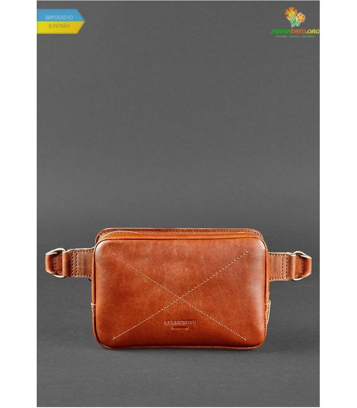 Шкіряна сумка на пояс DropBag mini KN Коричнева ᐉ Україна, HandMade, натуральна шкіра