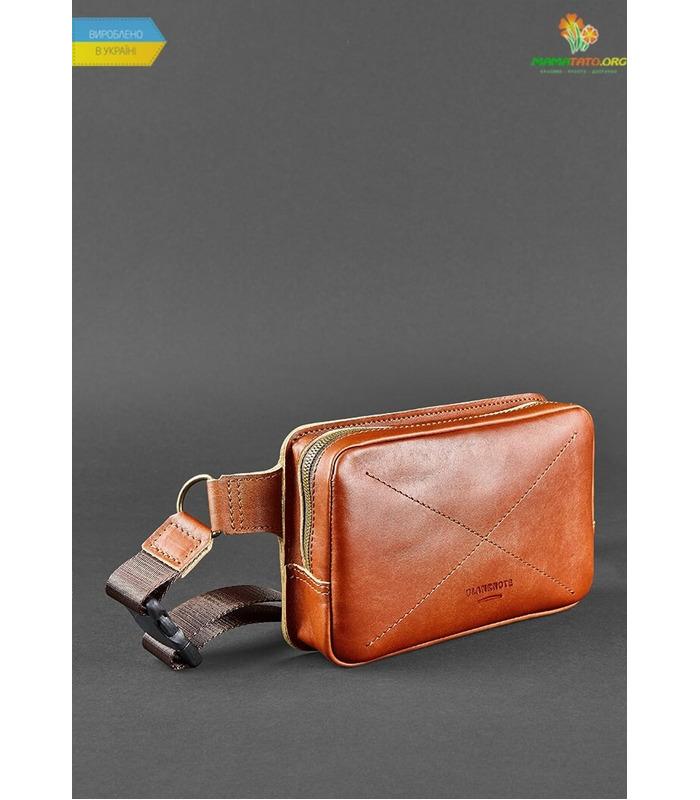 Кожаная сумка на пояс DropBag mini KN Коричневая ᐉ Украины, HandMade, натуральная кожа