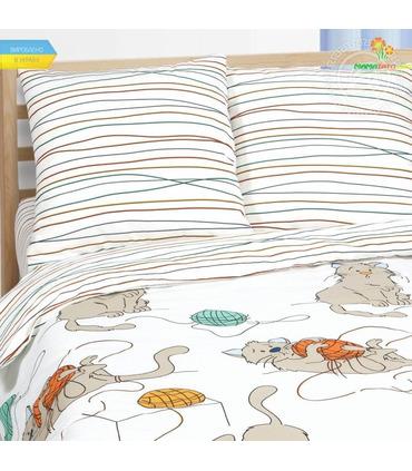 """Комплект дитячої постільної білизни """"М'які лапки"""" ᐉ Поплін, вироблено в Україні"""