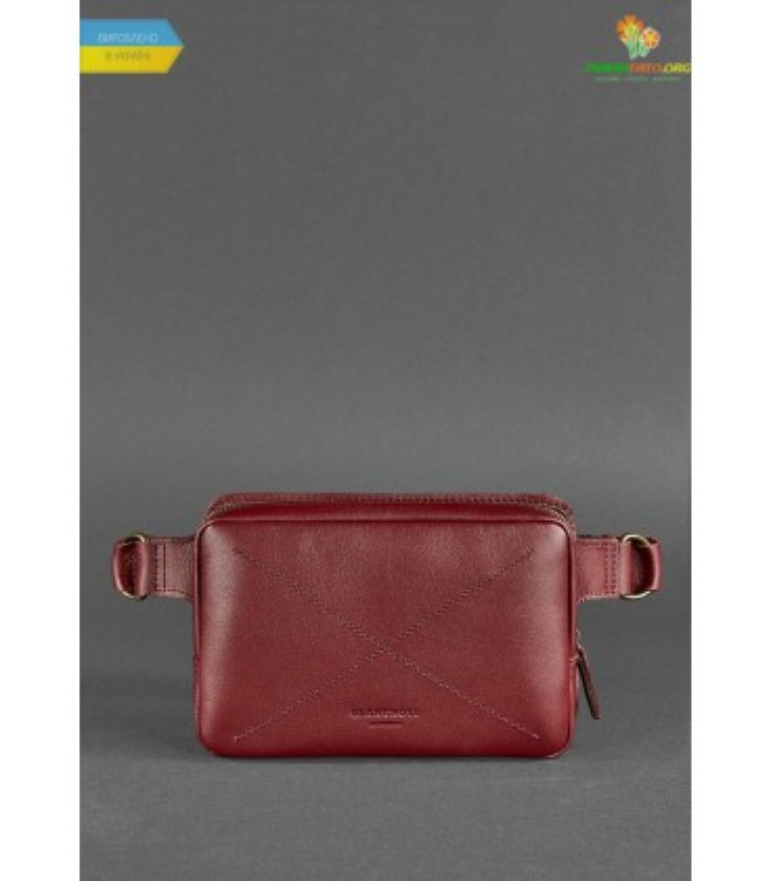 Шкіряна сумка на пояс DropBag mini VG Krast Бордова ᐉ Україна, HandMade, натуральна шкіра