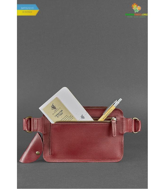 Кожаная сумка на пояс DropBag mini VG Krast Бордовая ᐉ Украины, HandMade, натуральная кожа