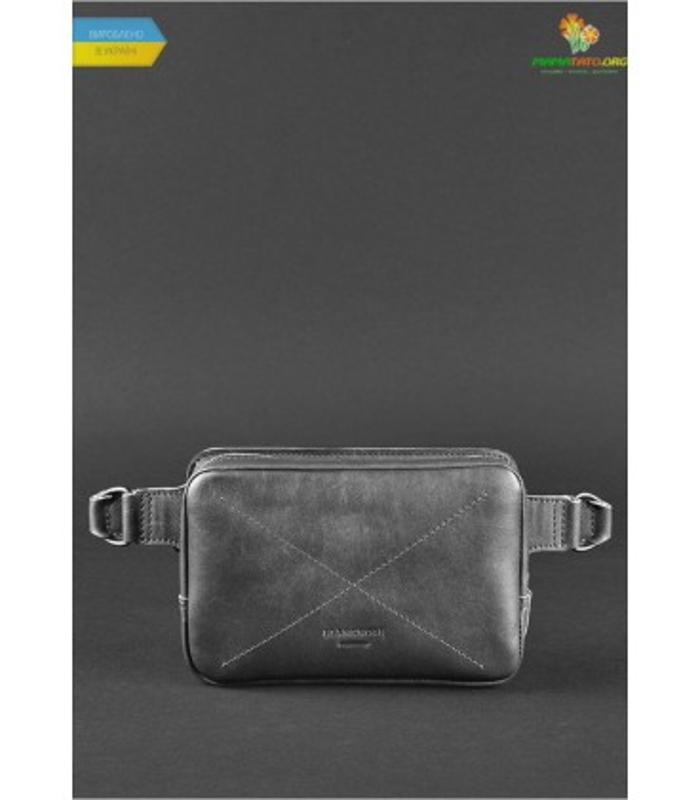 Кожаная сумка на пояс DropBag mini BK Чорная ᐉ Украины, HandMade, натуральная кожа