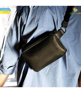 Шкіряна сумка на пояс DropBag mini BK Чорна ᐉ Україна, HandMade, натуральна шкіра