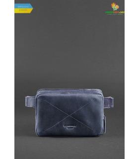 Шкіряна сумка на пояс DropBag mini NN Синя ᐉ Україна, HandMade, натуральна шкіра