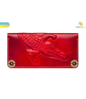 Кожаный кошелек Alligator Red ᐉ Украина, HandMade, натуральная кожа