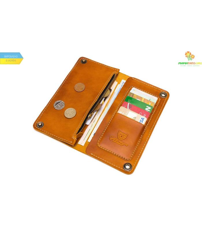 Кожаный кошелек Alligator Orange ᐉ Украина, HandMade, натуральная кожа