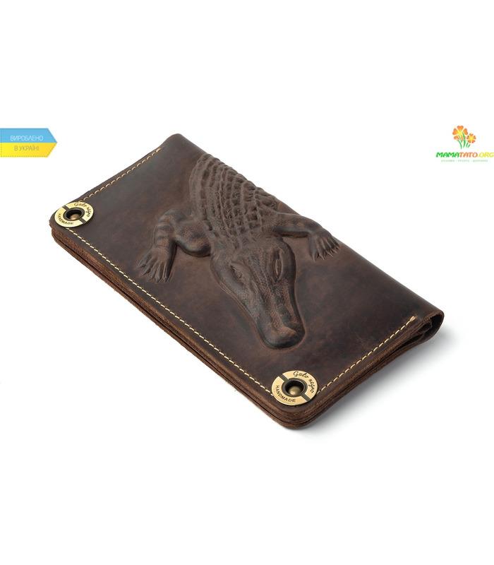 Кожаный кошелек Alligator Gray ᐉ Украина, HandMade, натуральная кожа