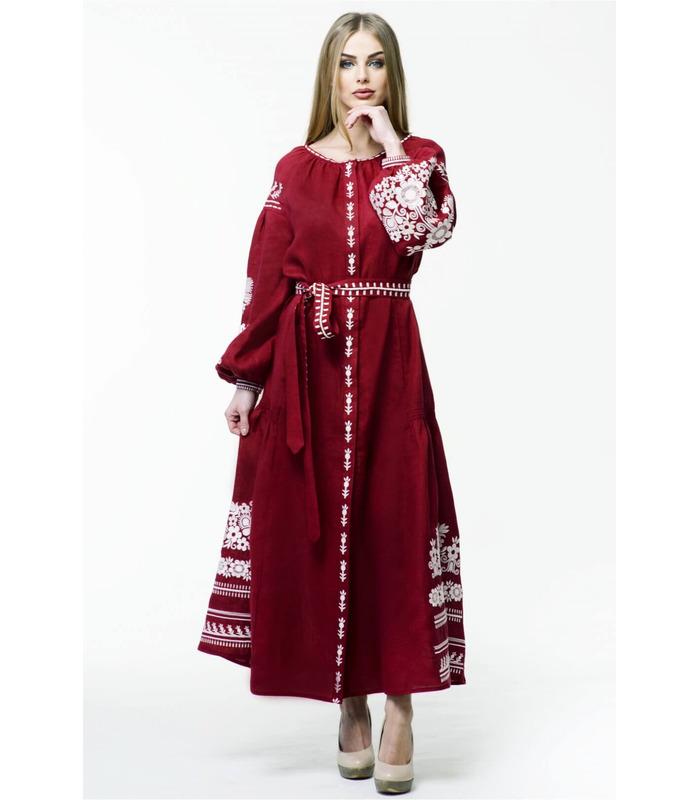 Вишитое льняное платье мод.0026