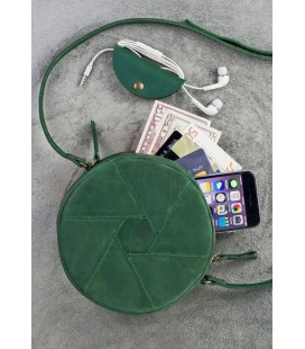 Женская кожаная сумка Бон-бон GR ᐉ Изумруд, натуральная кожа, Украина