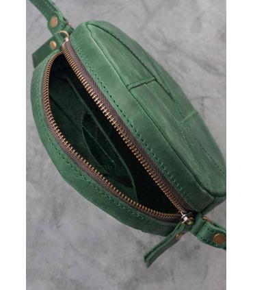Жіноча шкіряна сумка Бон-бон GR ᐉ Смарагд, натуральна шкіра, Україна