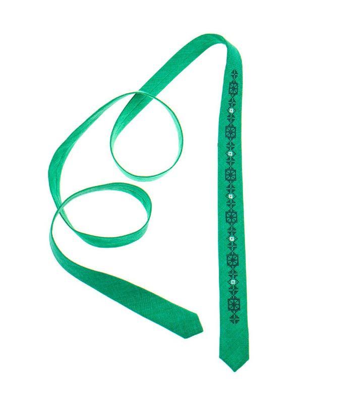 Вышитый тонкий галстук 834
