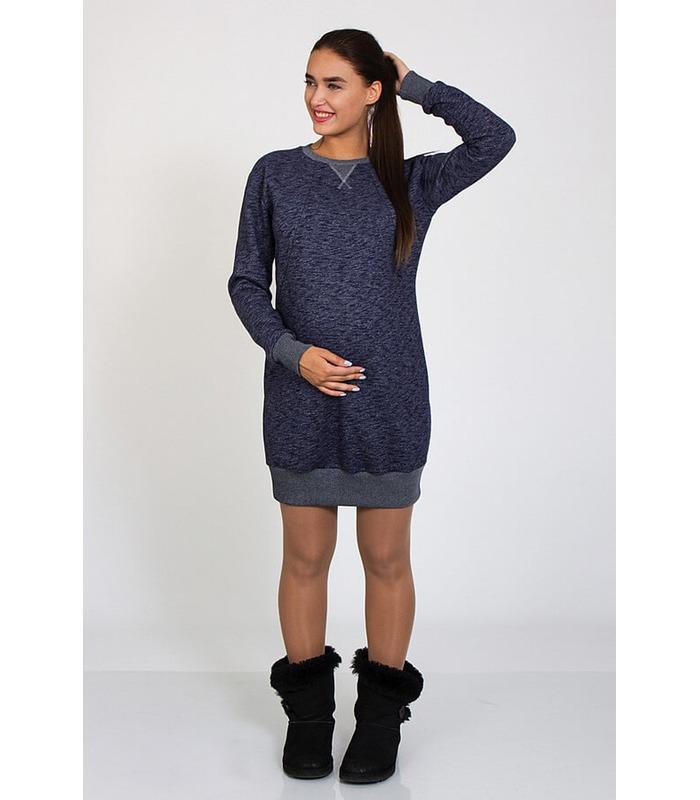 Сукня Сава Тепла BB ᐈ тепле синє плаття з начосом вагітним та годуючим