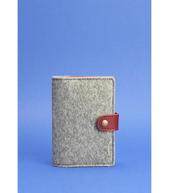 Фетровая обложка для паспорта 3.0 VN ᐉ Украина, натуральная кожа, эко-фетр