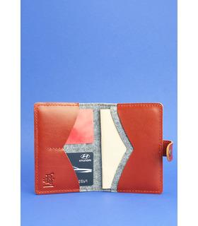 Фетровая обложка для паспорта 3.0 BR ᐉ Украина, натуральная кожа, эко-фетр
