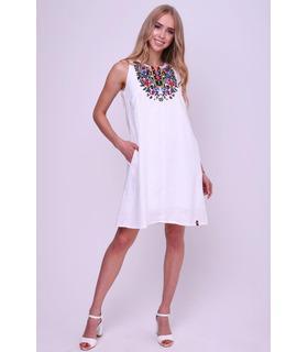 Вышитое льняное платье (017)