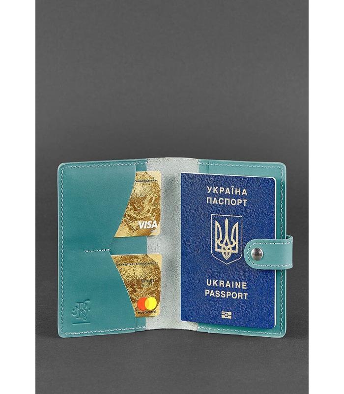 Шкіряна обкладинка для паспорту 3.0 Тіффані ᐉ Україна, натуральна шкіра