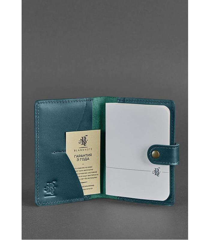 Кожаная обложка для паспорта 3.0 Малахит ᐉ Украина, натуральная кожа