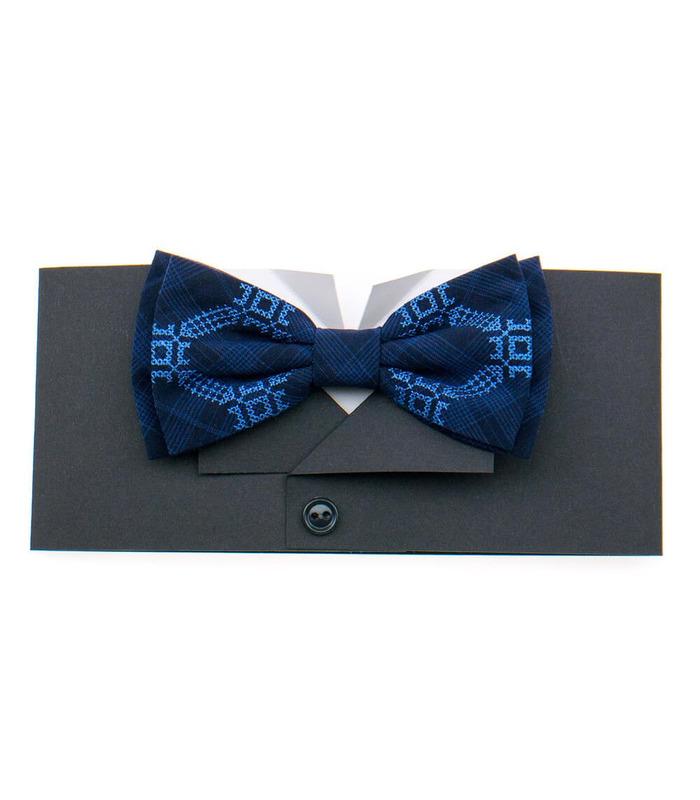 Мужская вышитая бабочка 921 из костюмной ткани ᐉ Синего цвета ※ Украина