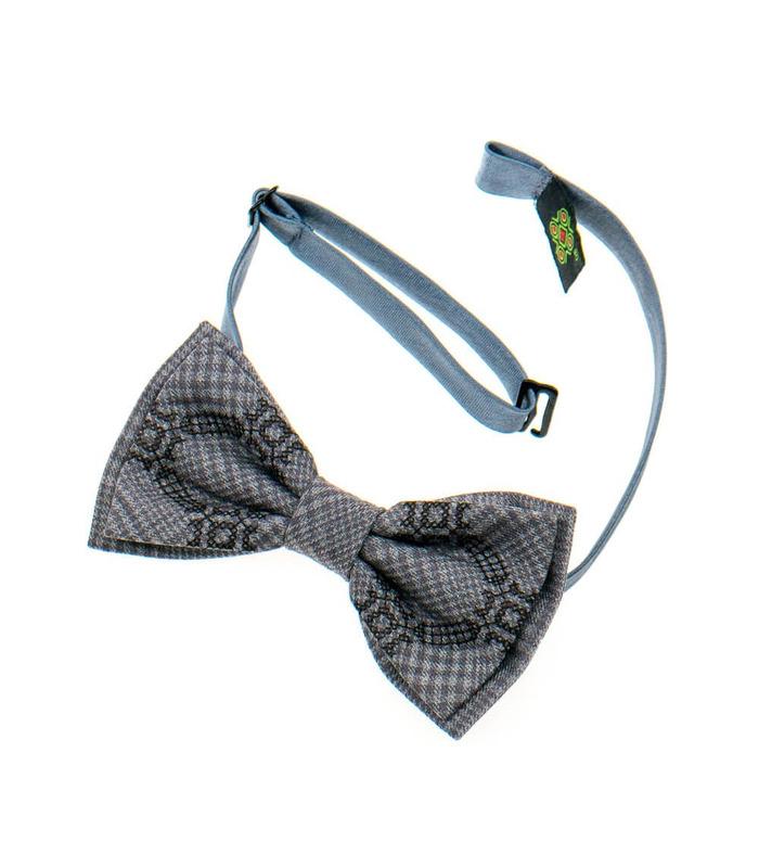 Мужская вышитая бабочка 922 из костюмной ткани ᐉ Бежево-коричневого цвета  ※ Украина