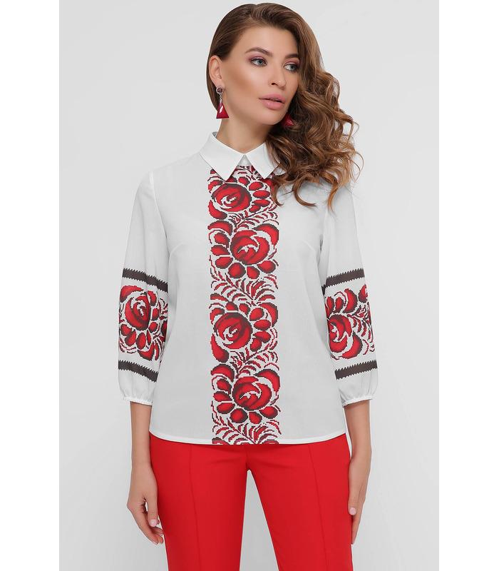 Блуза Жулі Червоні Квіти