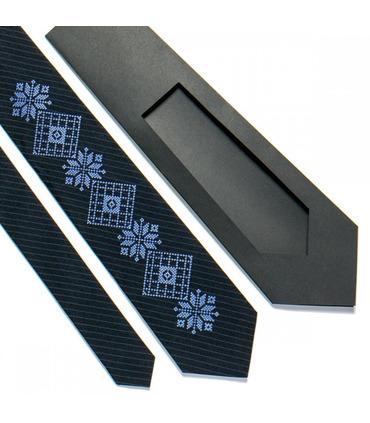 Краватка ᐉ Вишита краватка темно-синього кольору 727, костюмна тканина ※ Україна