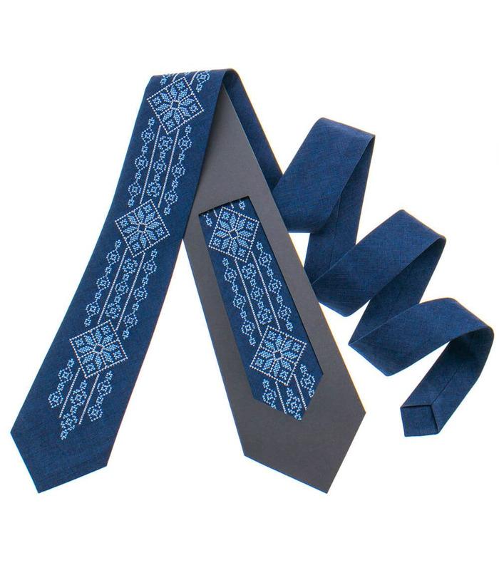 Краватка ᐉ Вишита краватка синього кольору 799, костюмна тканина ※ Україна