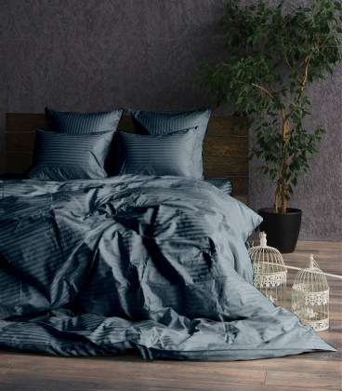 """Комплект постельного белья """"Graphite"""" Сатин Stripe из 100% хлопка, полоса 1/1 см"""