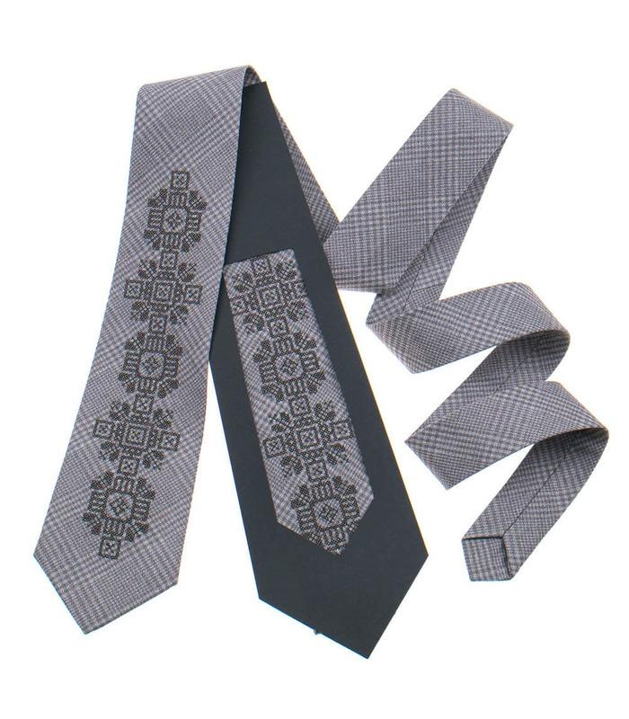 Краватка ᐉ Вишита краватка бежевого кольору з коричневим переплетінням 915, костюмна тканина ※ Україна