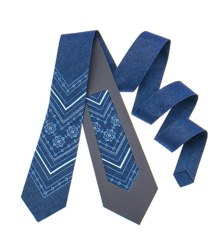 Краватка ᐉ Вишита краватка синього кольору 897, джинсова тканина ※ Україна
