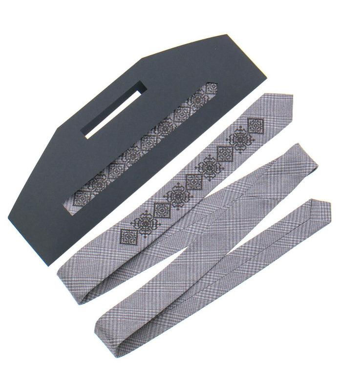 Краватка ᐉ Вишита краватка бежевого кольору 916, костюмна тканина ※ Україна