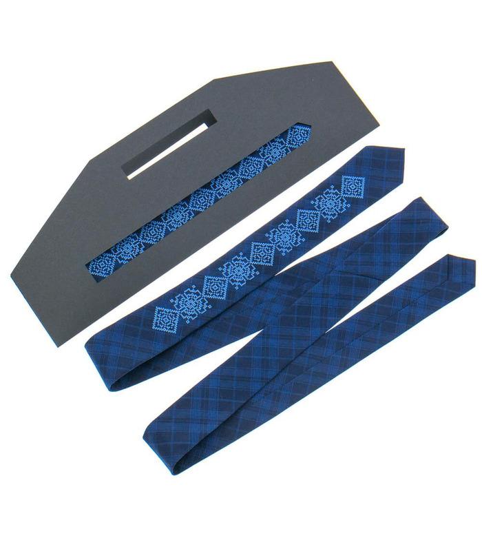 Галстук ᐉ Вышитый галстук темно-синего цвета 918, костюмная ткань ※ Украина