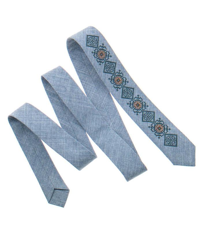 Галстук ᐉ Вышитый галстук светло-серого цвета 923, костюмная ткань ※ Украина