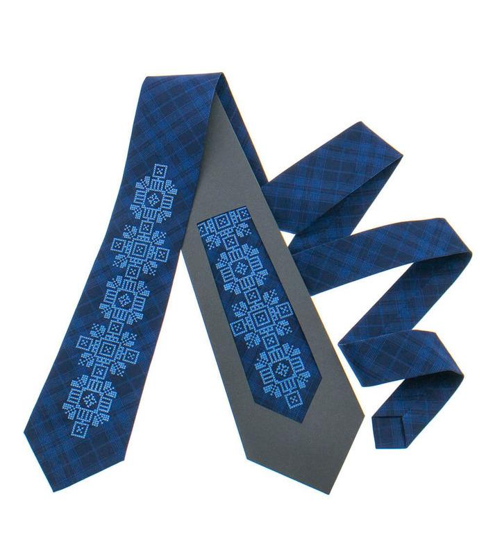 Краватка ᐉ Вишита краватка темно-синього кольору 917, костюмна тканина ※ Україна