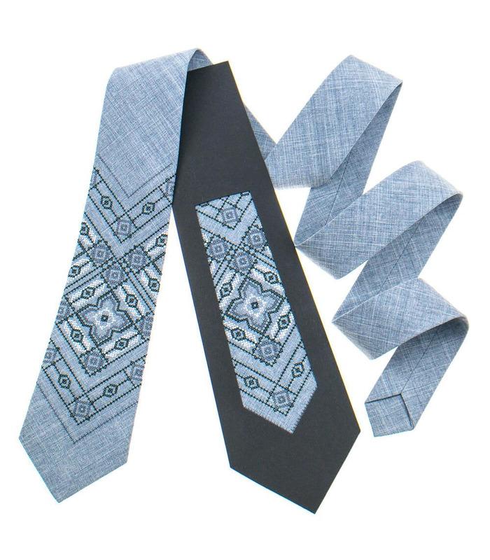 Галстук ᐉ Вышитый галстук светло-серого цвета 920, костюмная ткань ※ Украина