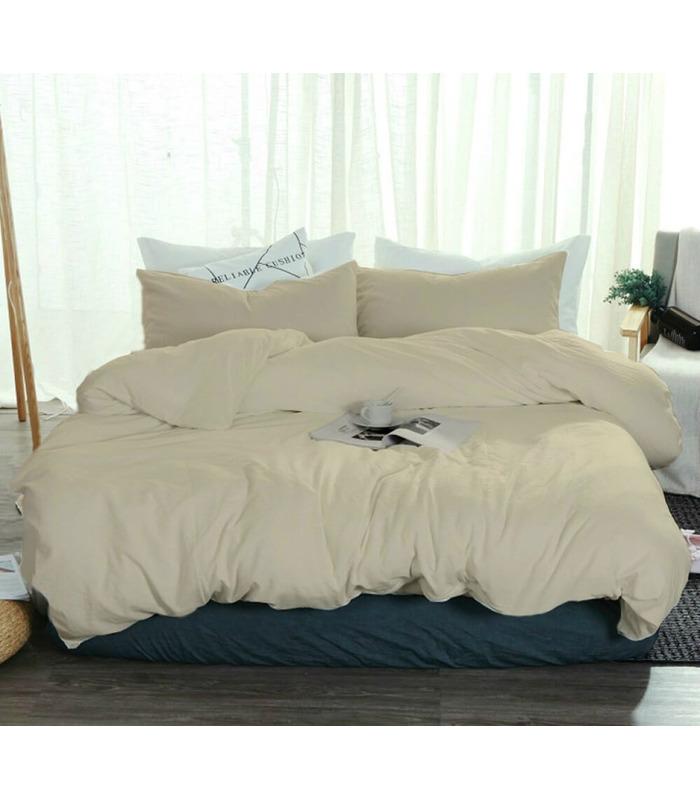 Комплект постільної білизни Пісочний №606 ᗍ льон ※ Україна, натуральна тканина